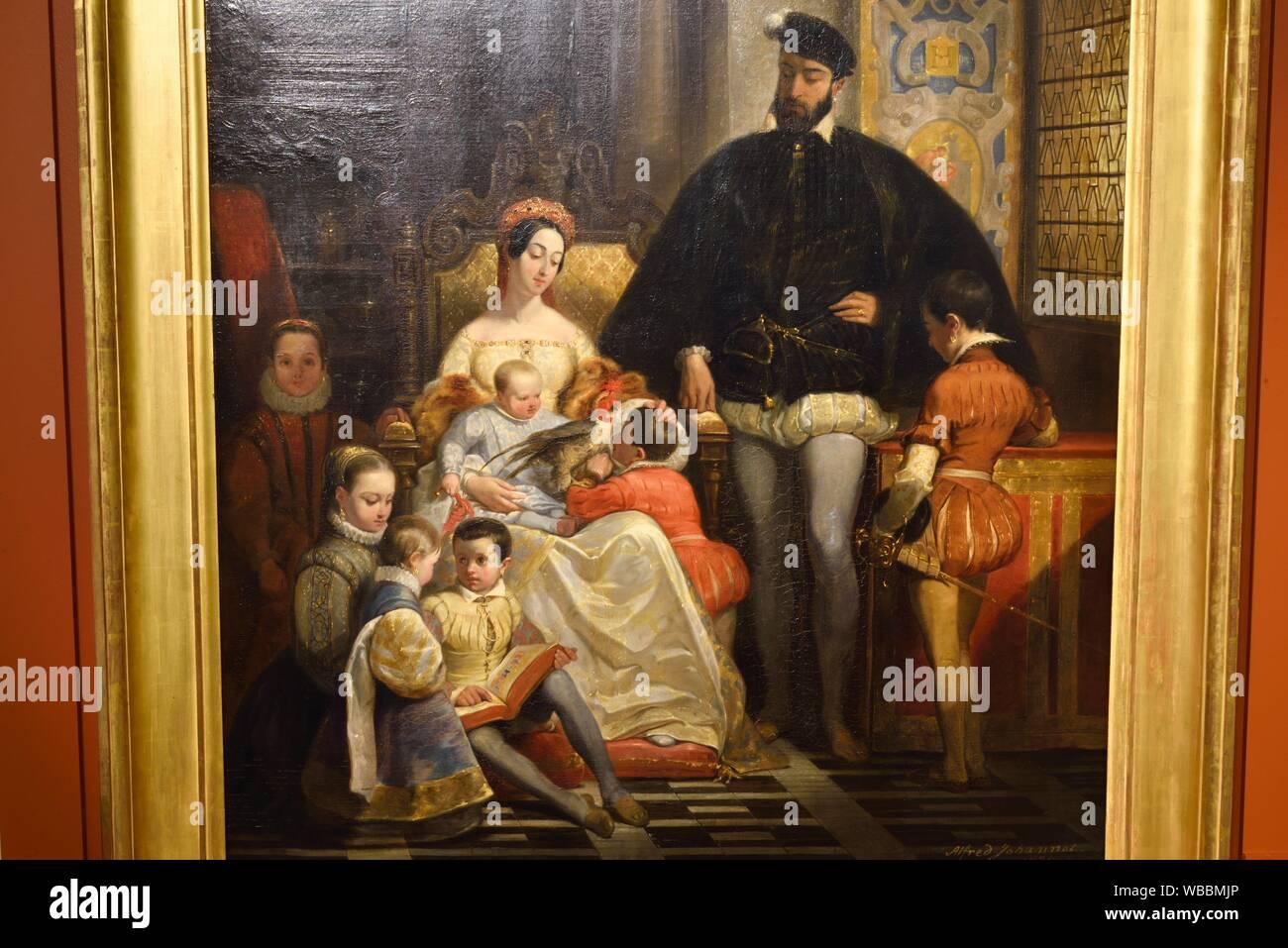 """Portrait de famille (Henri II, roi de France et Catherine de Medicis et leurs enfants) par Alfred Johannot (1542-1616), Exposition """"""""Enfants de la Stock Photo"""