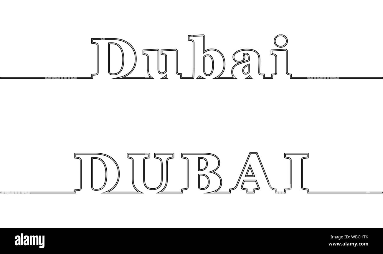 DUBAI. Contour line with the name of the city. Uppercase and lowercase letters Stock Vector