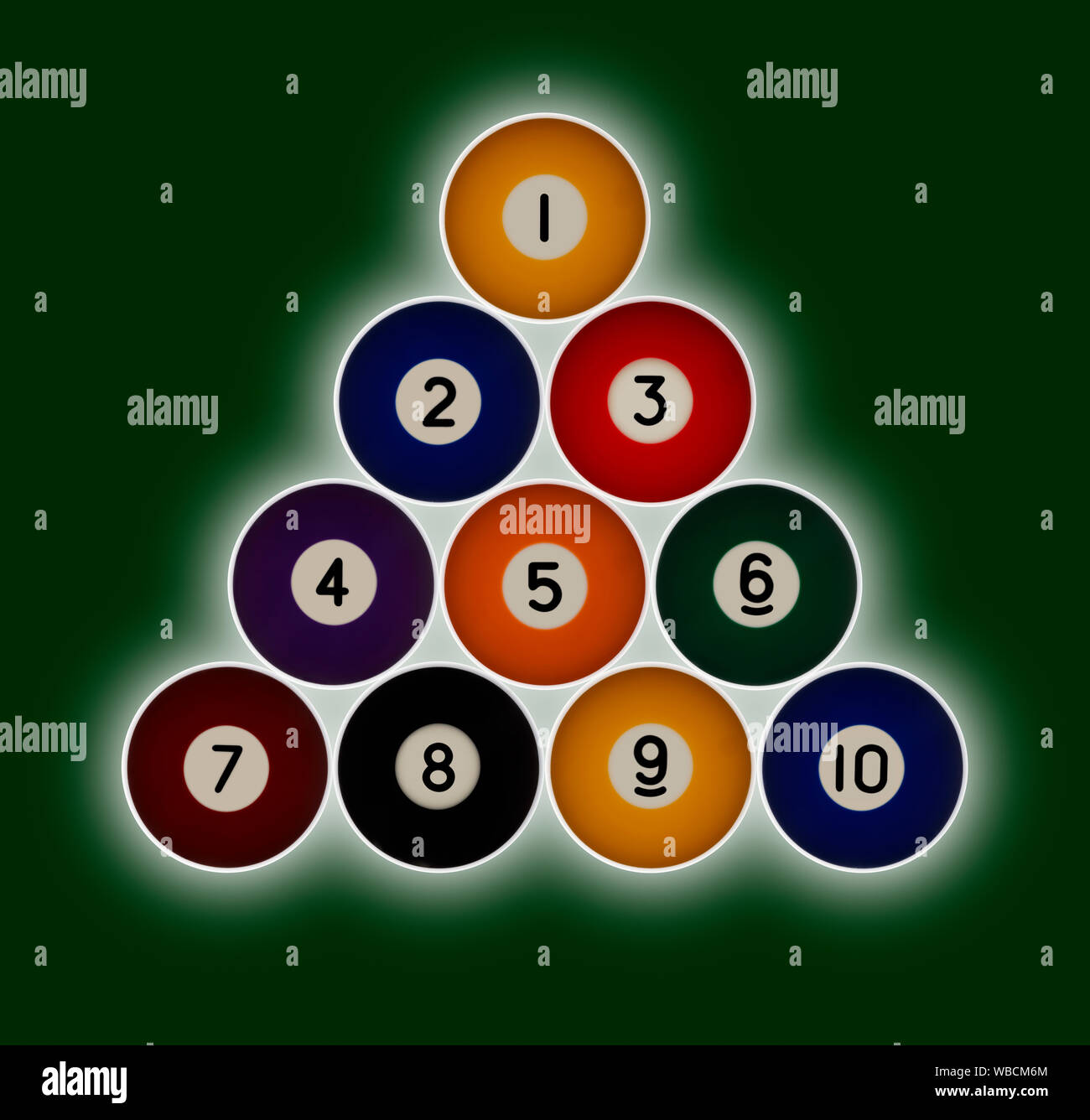 Pool balls numbered 1-10 in a triangle formation on a green background with a hallow glow behind Stock Photo