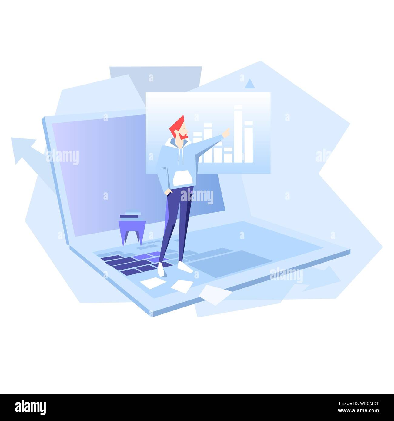 Teamwork business vector flat illustration. Man point on chart. Banner logo template for the website or app infographic. Stock Vector