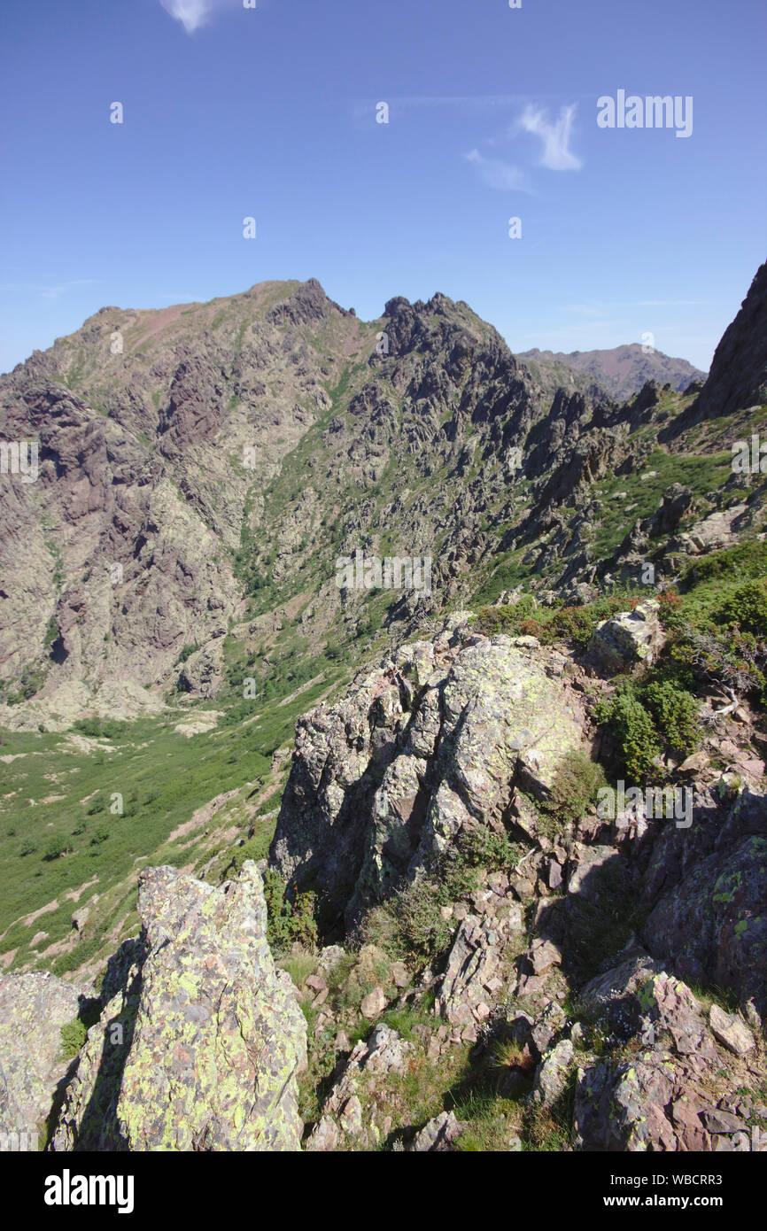 View from Bocca di l'Innominata on GR20, Cirque de Bonifatu, France, Corsica, GR20 Stock Photo