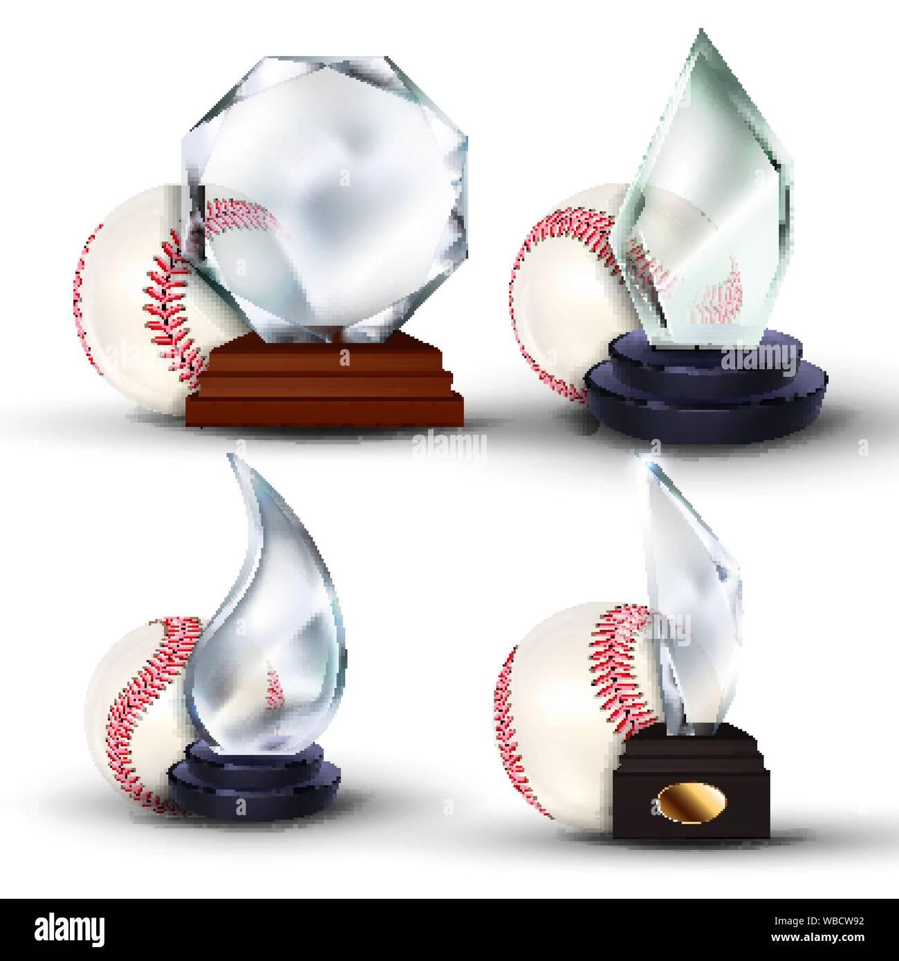 Baseball Game Award Set Vector. Ball, Glass Trophy. Tournament. Design For Sport Promotion. Certificate, Diploma. Event Announcement. Banner Stock Vector