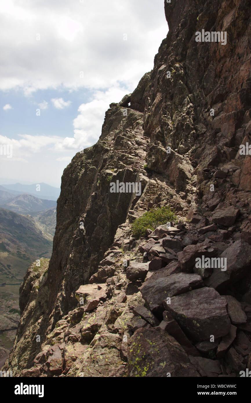 Path in the rock face of Capu Tafunatu, France, Corsica Stock Photo