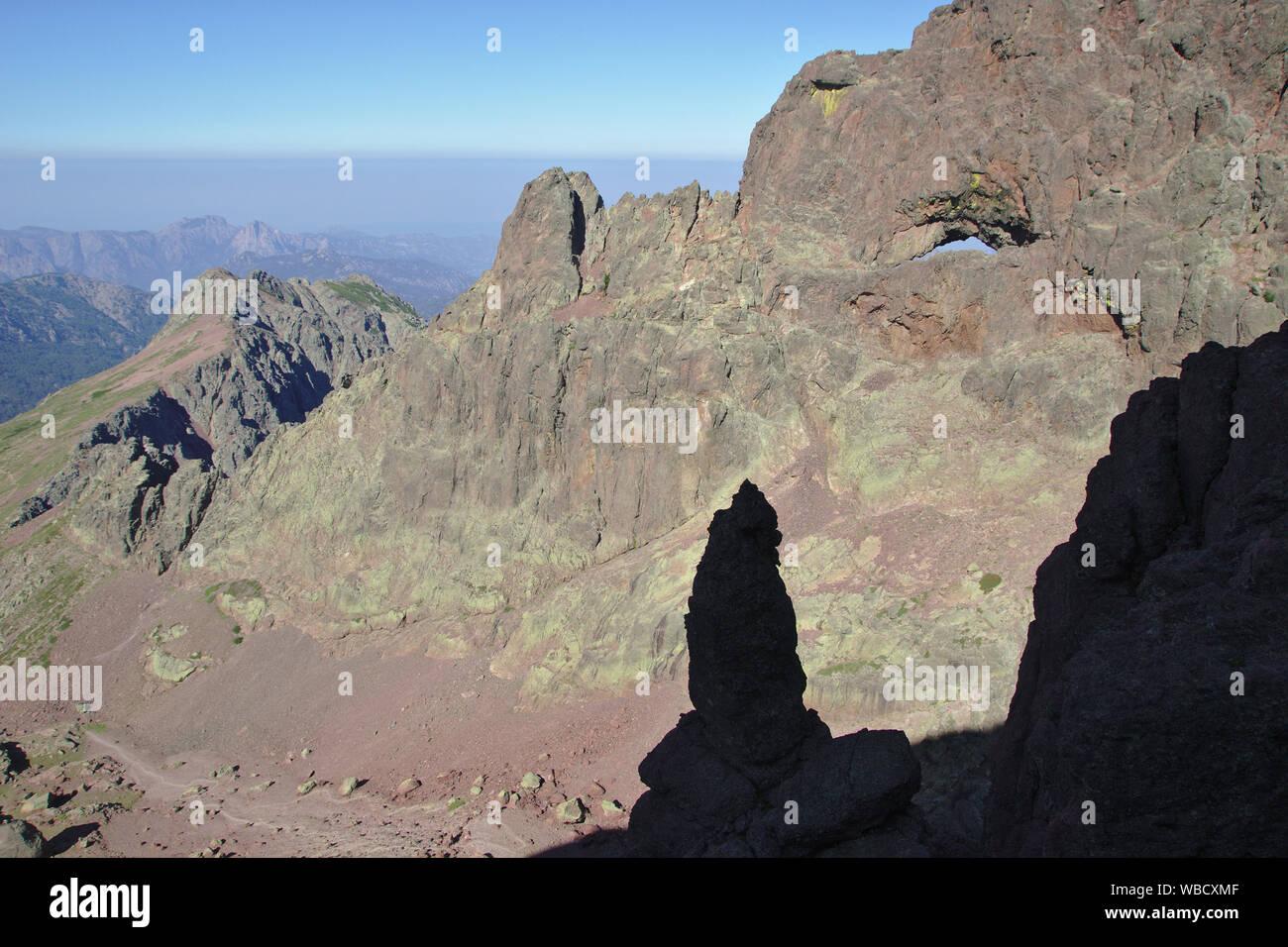 Capu Tafunatu rock window from ascent to Paglia Orba, France, Corsica Stock Photo