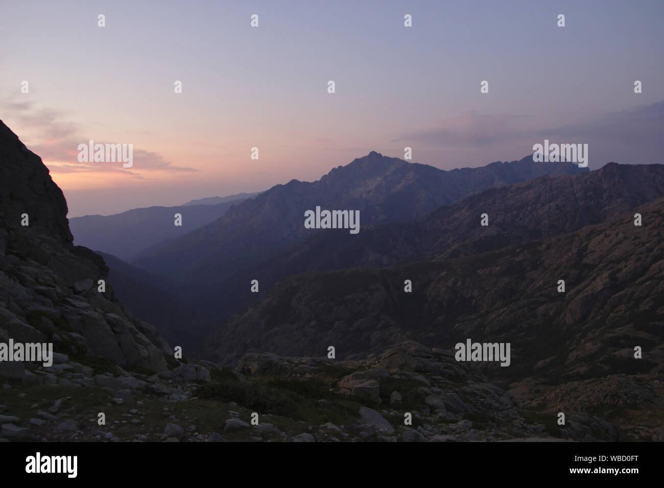 Monte d'Oro, ascent from Pietra Piana to Monte Rotondo, morning light, France, Corsica Stock Photo