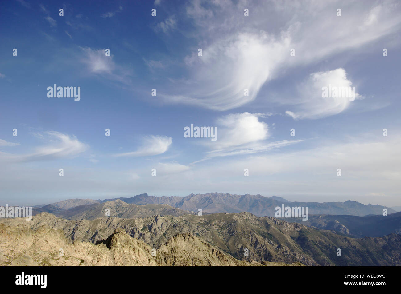 clouds over corsica, view from Monte Rotondo to Paglia Orba and Monte Cinto, France, Corsica Stock Photo