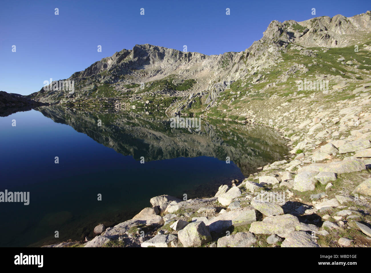 Lac de Bastiani and Monte Renoso, France, Corsica, GR20 Stock Photo