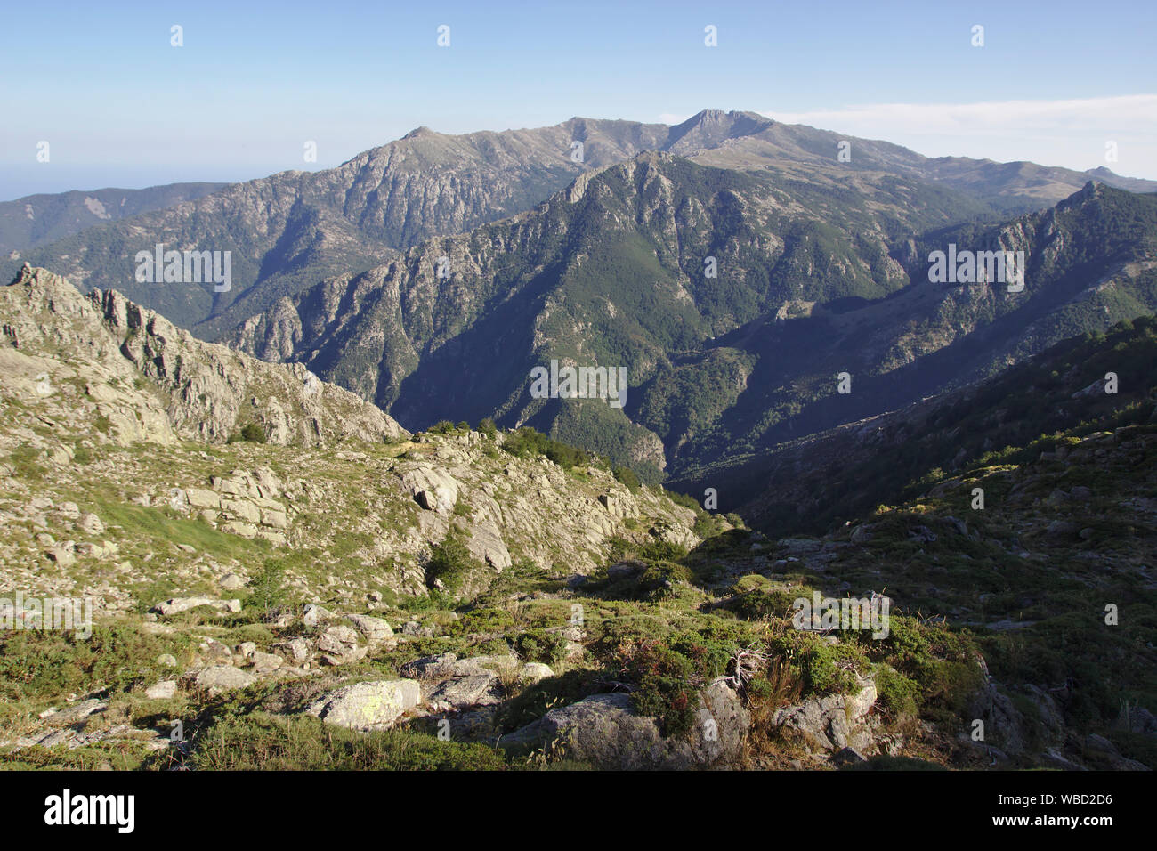 Monte Incudine from Refuge d'Usciolu, afternoon, France, Corsica, GR20 Stock Photo