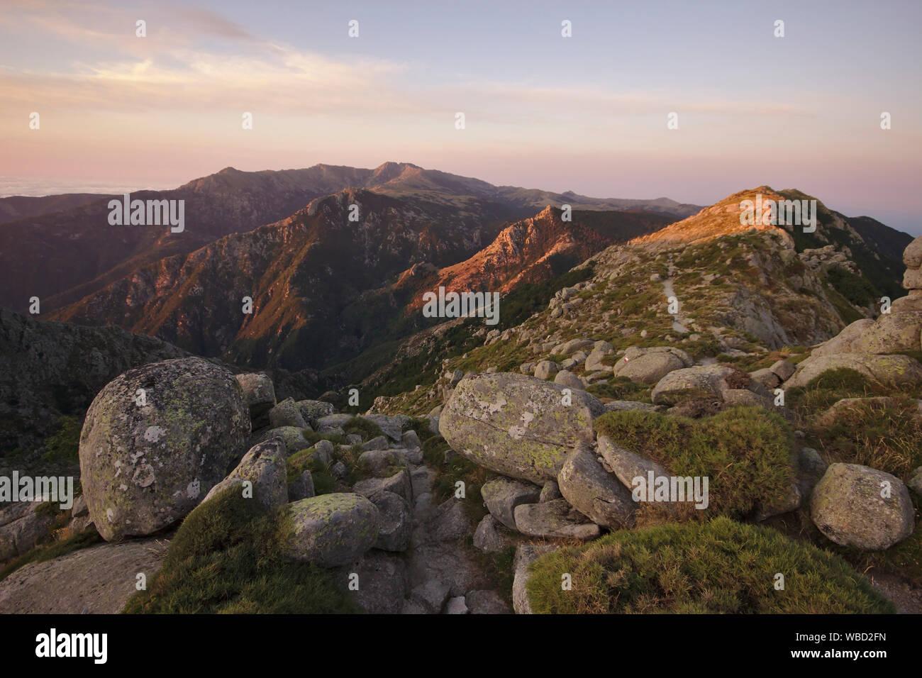 Arrete des Statues, morning light, France, Corsica, GR20 Stock Photo