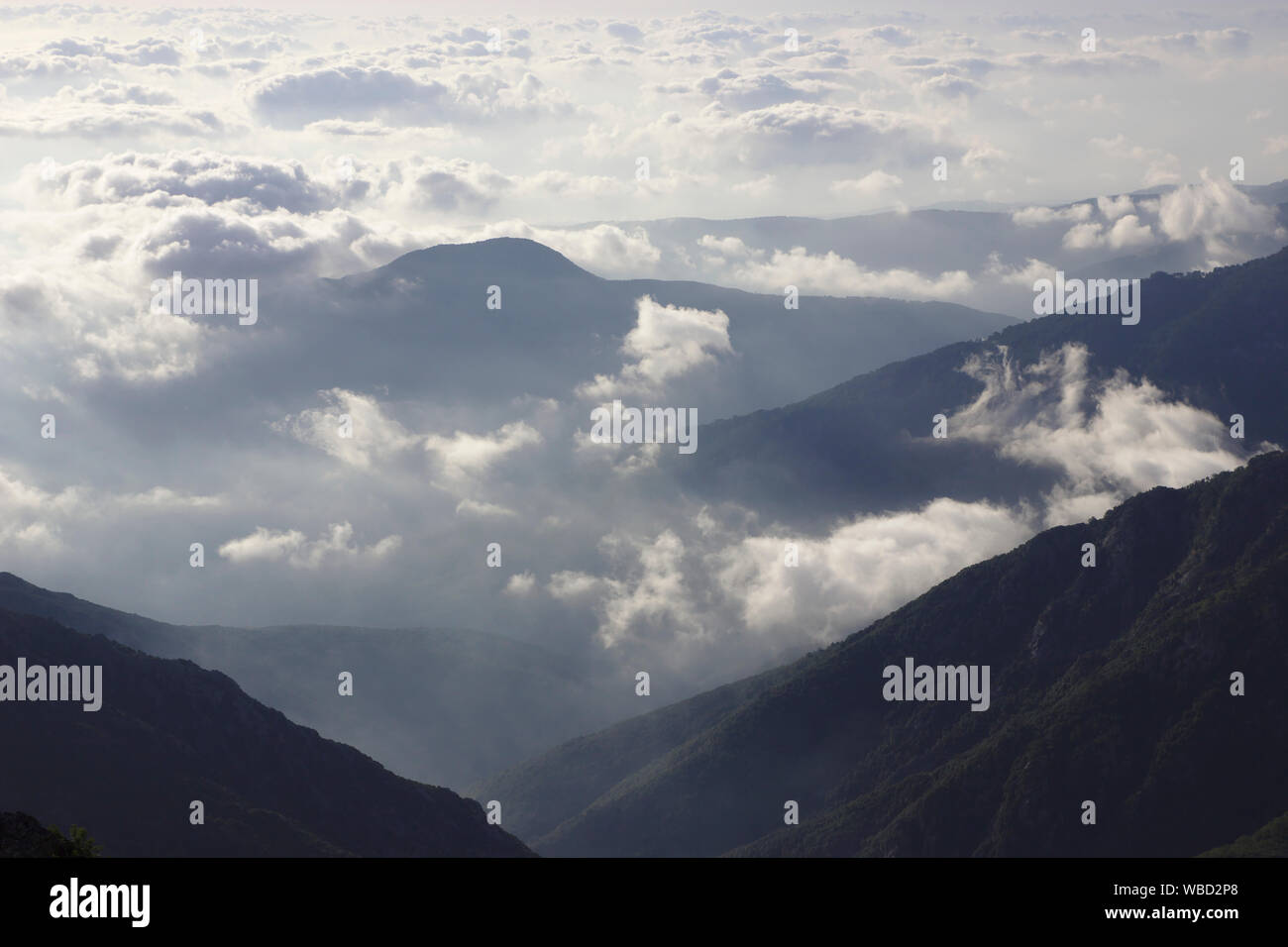 View of clouds (east coast) from Arrete des Statues, France, Corsica, GR20 Stock Photo