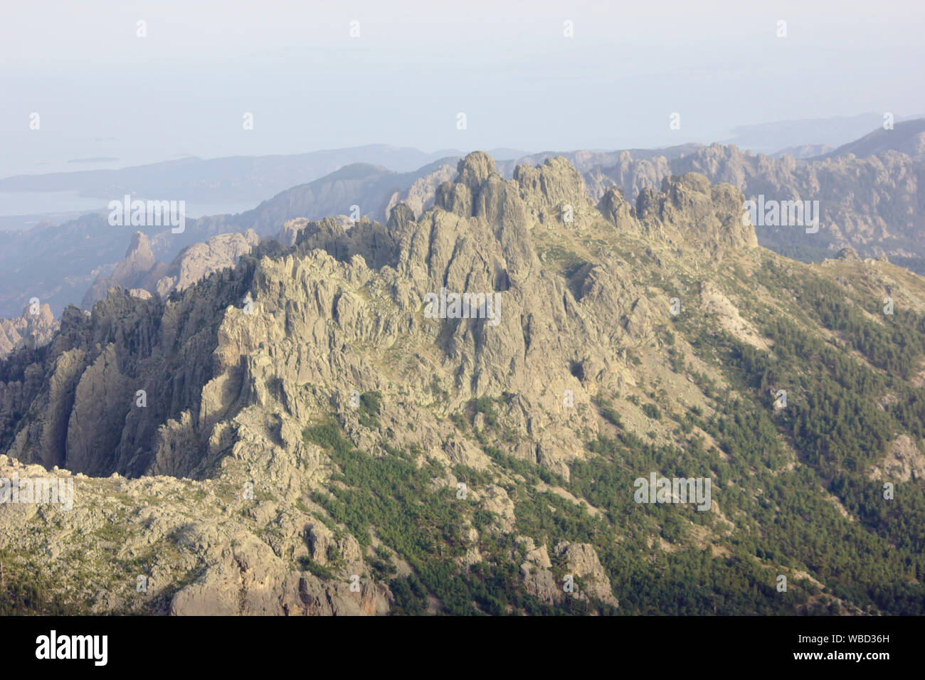 Bavella, view from Monte Incudine, France, Corsica, GR20 Stock Photo