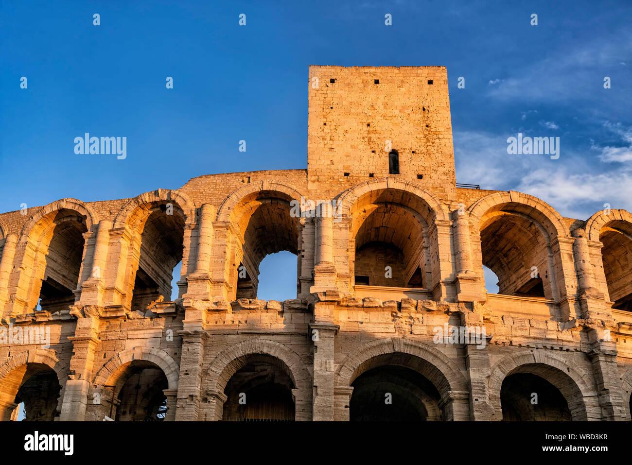 Roman Amphitheatre, Arena, Arles, Bouche du Rhone, Provence, France Stock Photo