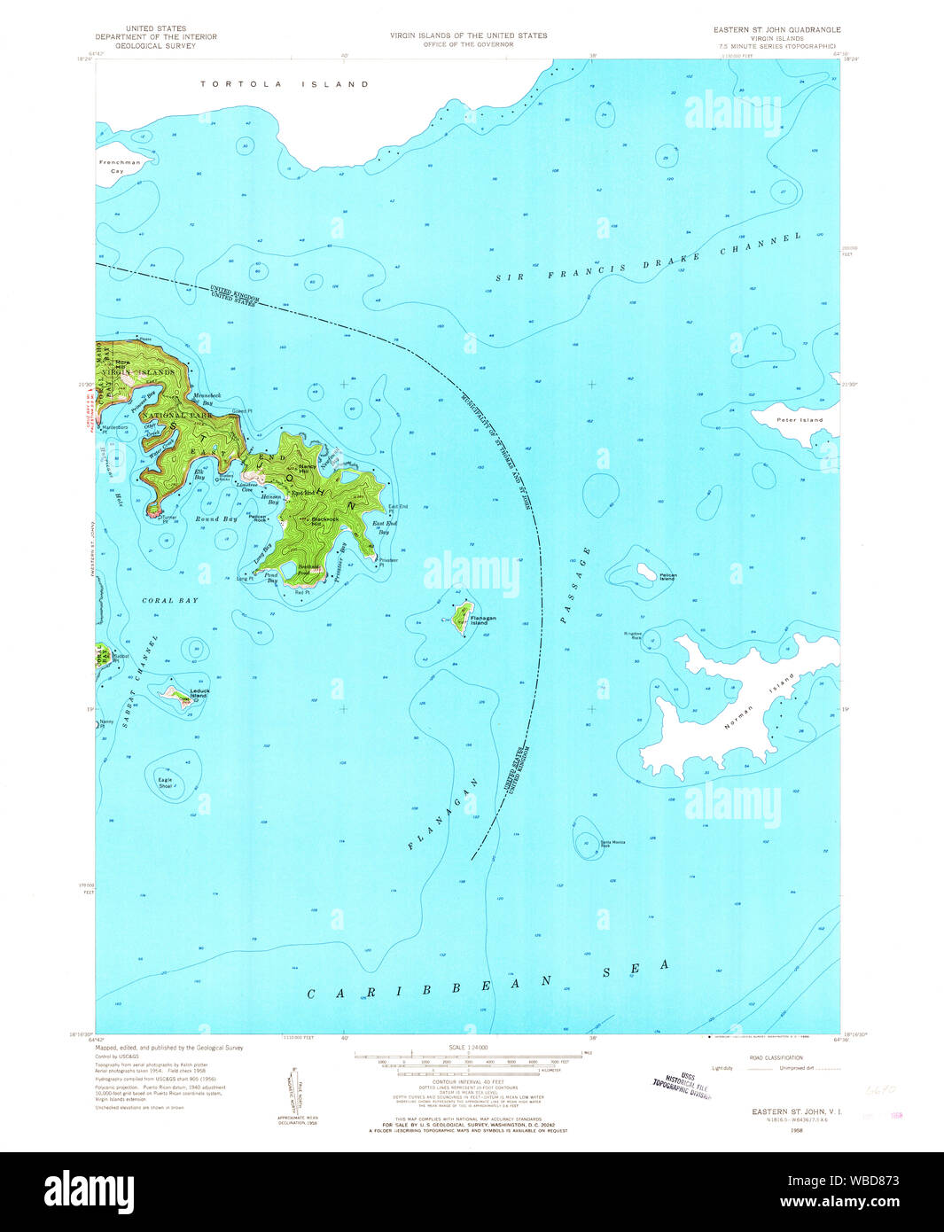 USGS TOPO Map Virgin Islands VI Eastern St John 462203 1958 ...