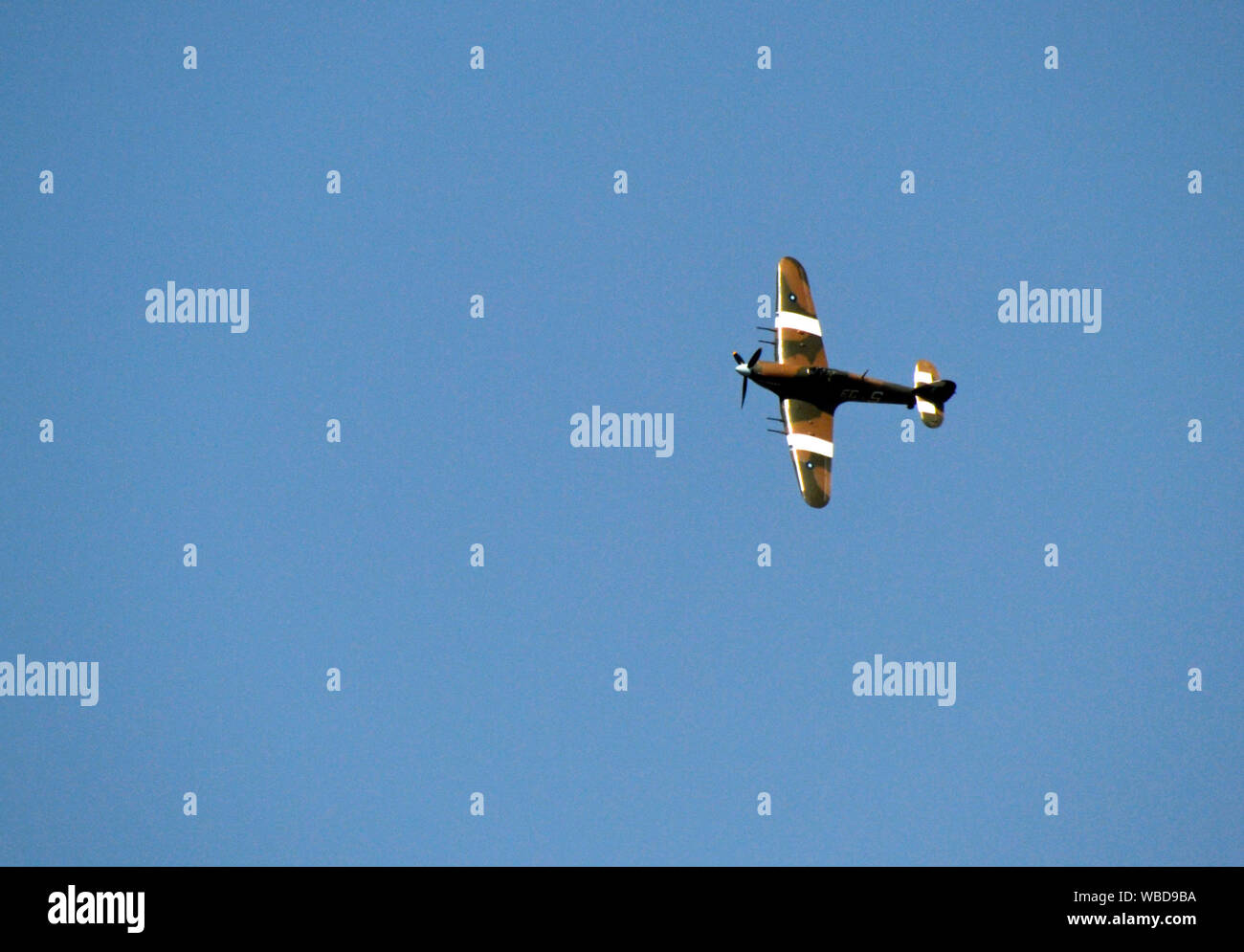 August Bank Holiday Monday 2019. Hurricane military plane flypast at Hazlemere Fete, Buckinghamshire, UK. 26/8/19 Stock Photo