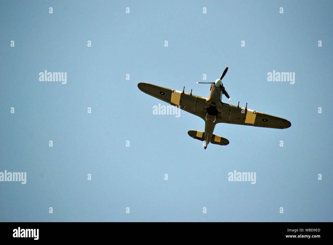 August Bank Holiday Monday 2019. Hurricane military plane flypast at Hazlemere Fete, Buckinghamshire, UK. 26/8/19 Stock Photo