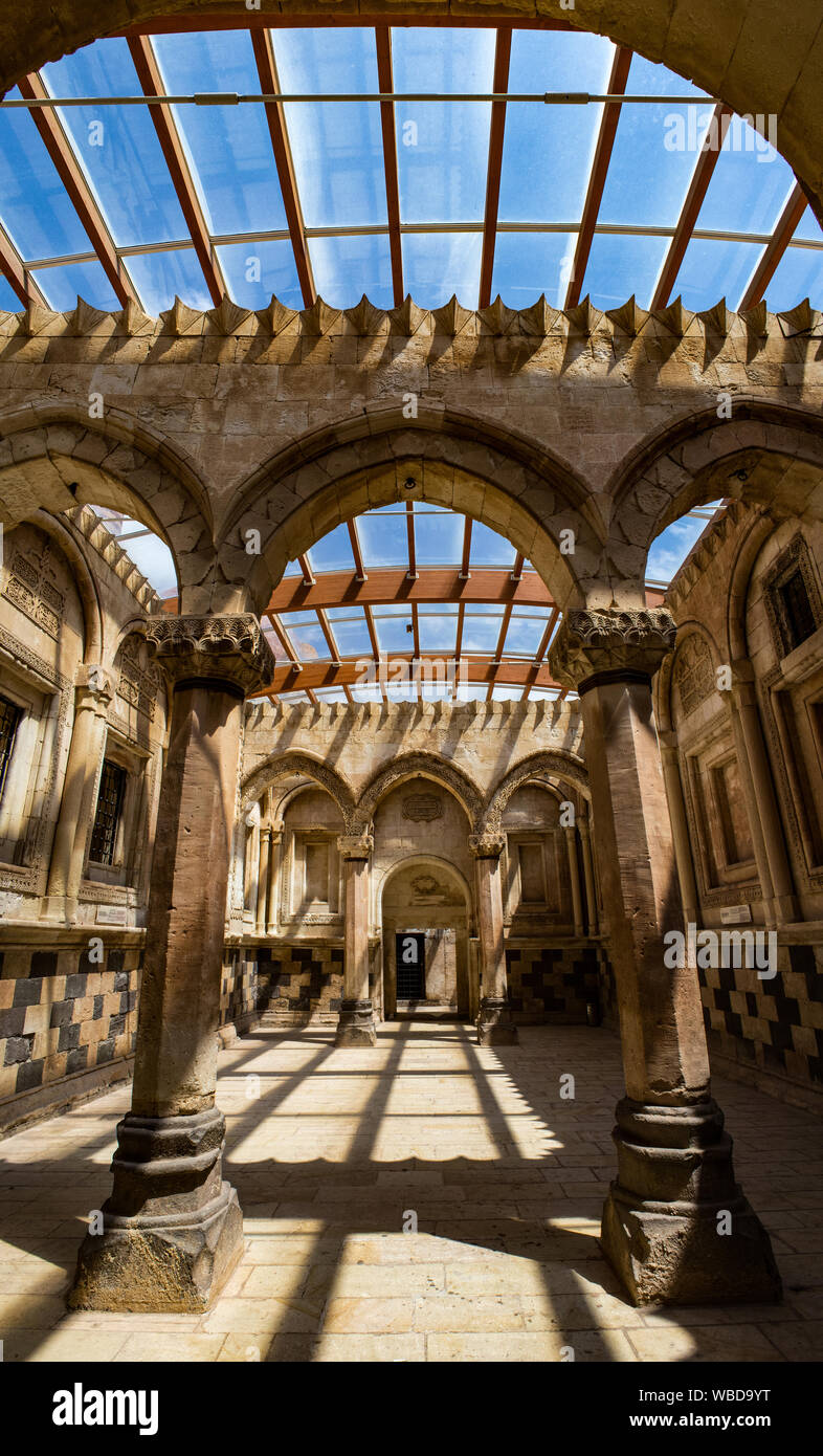 Turkey: the ceremonial hall in the middle of harem of Ishak Pasha Palace, semi-ruined palace of Ottoman period (1685-1784), famous historical palace Stock Photo