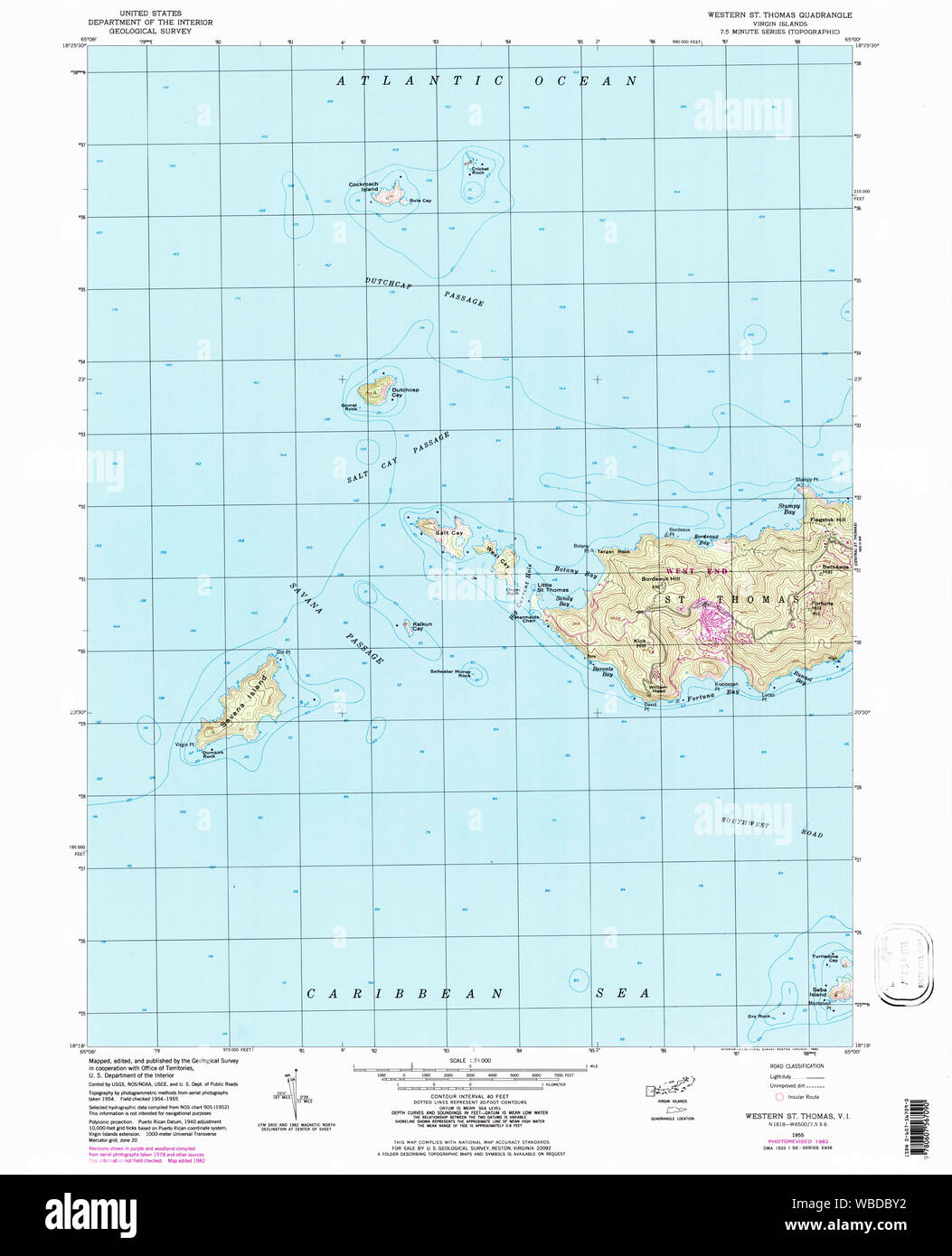 USGS TOPO Map Virgin Islands VI Western St Thomas 462225 ...