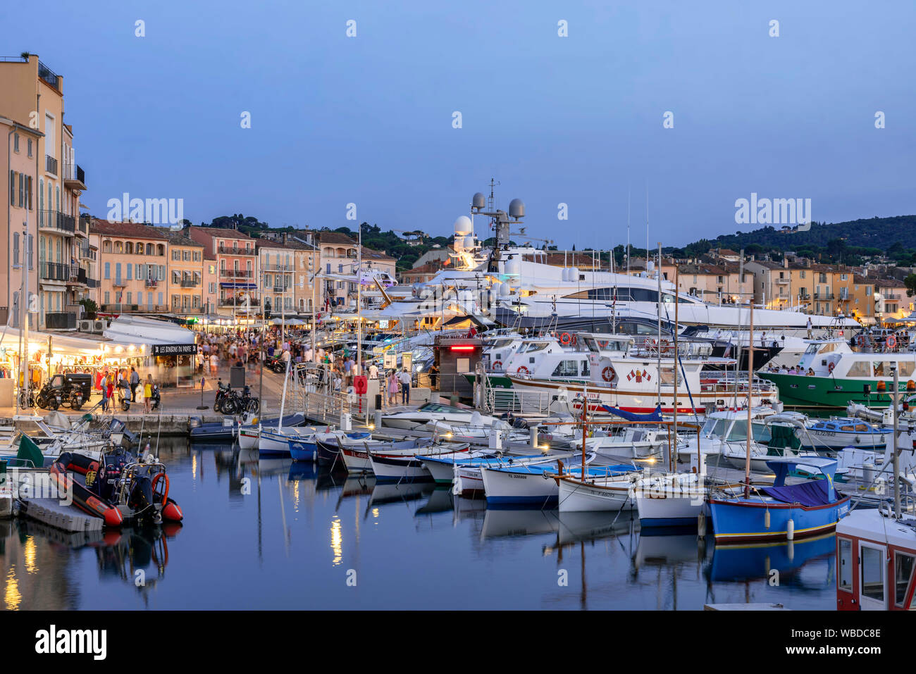 fishing boats and luxery yachts at Saint Tropez, Vieux Port, Var, Cote d'Azur, south france, france, Stock Photo