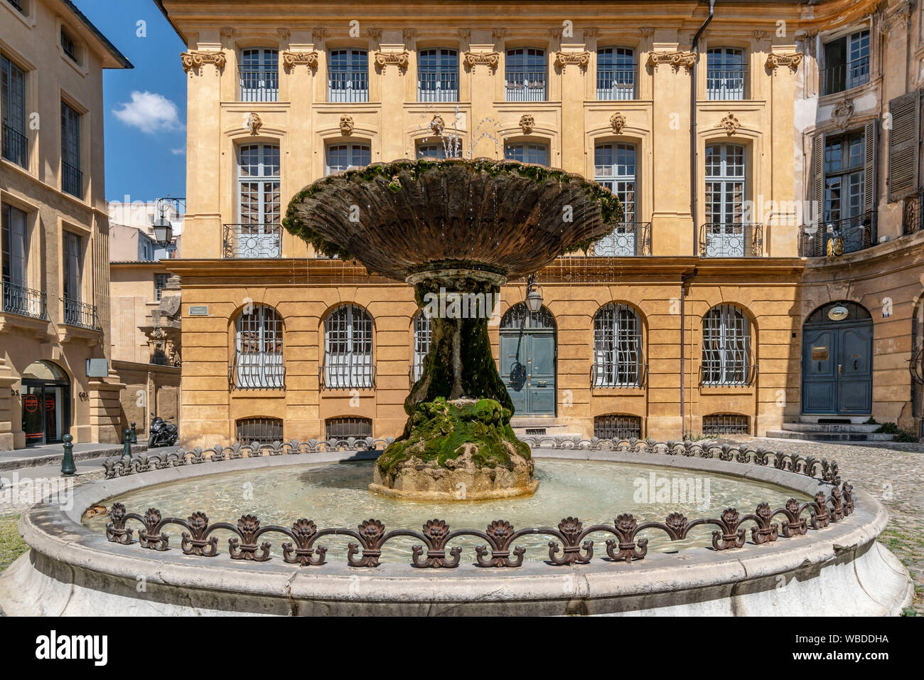 historic fountain , Place d'Albertas in Aix en Provence, france Stock Photo