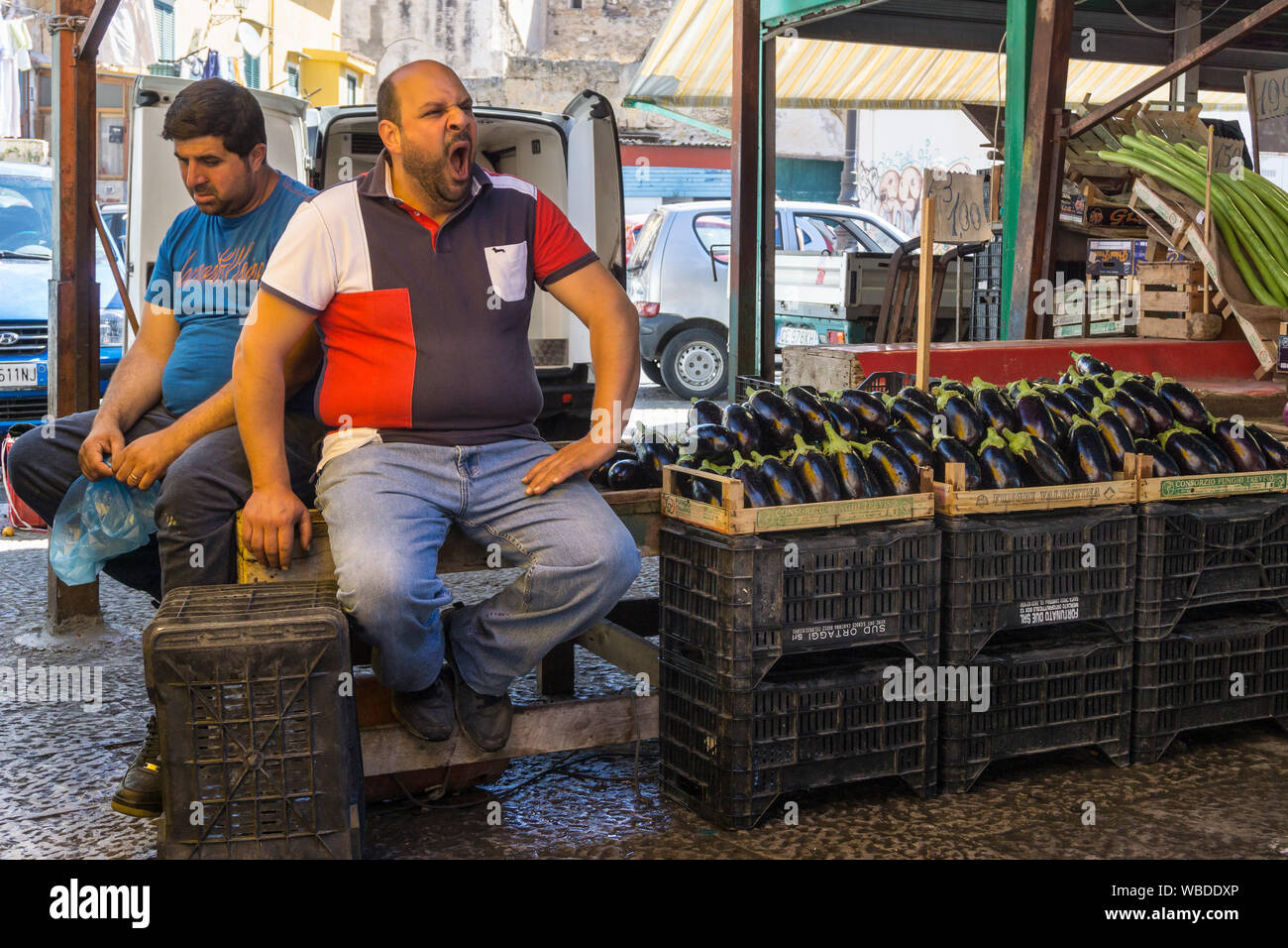 Aubergines for sale in the Ballaro Market in the Albergheria district of central Palermo, Sicily, Italy. Stock Photo