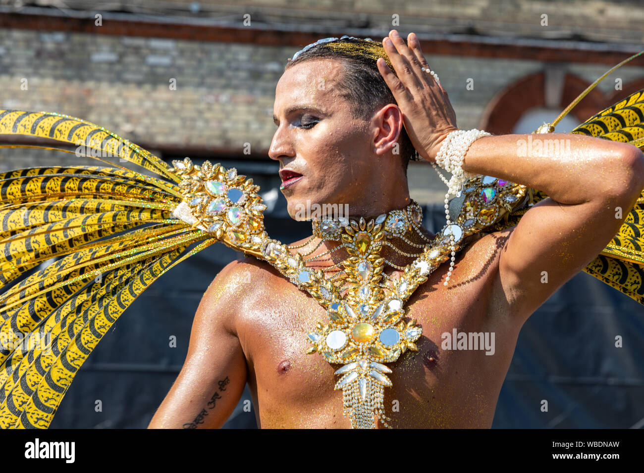 A parade pariticpant performing at Notting Hill carnival on August 26th 2019 Stock Photo