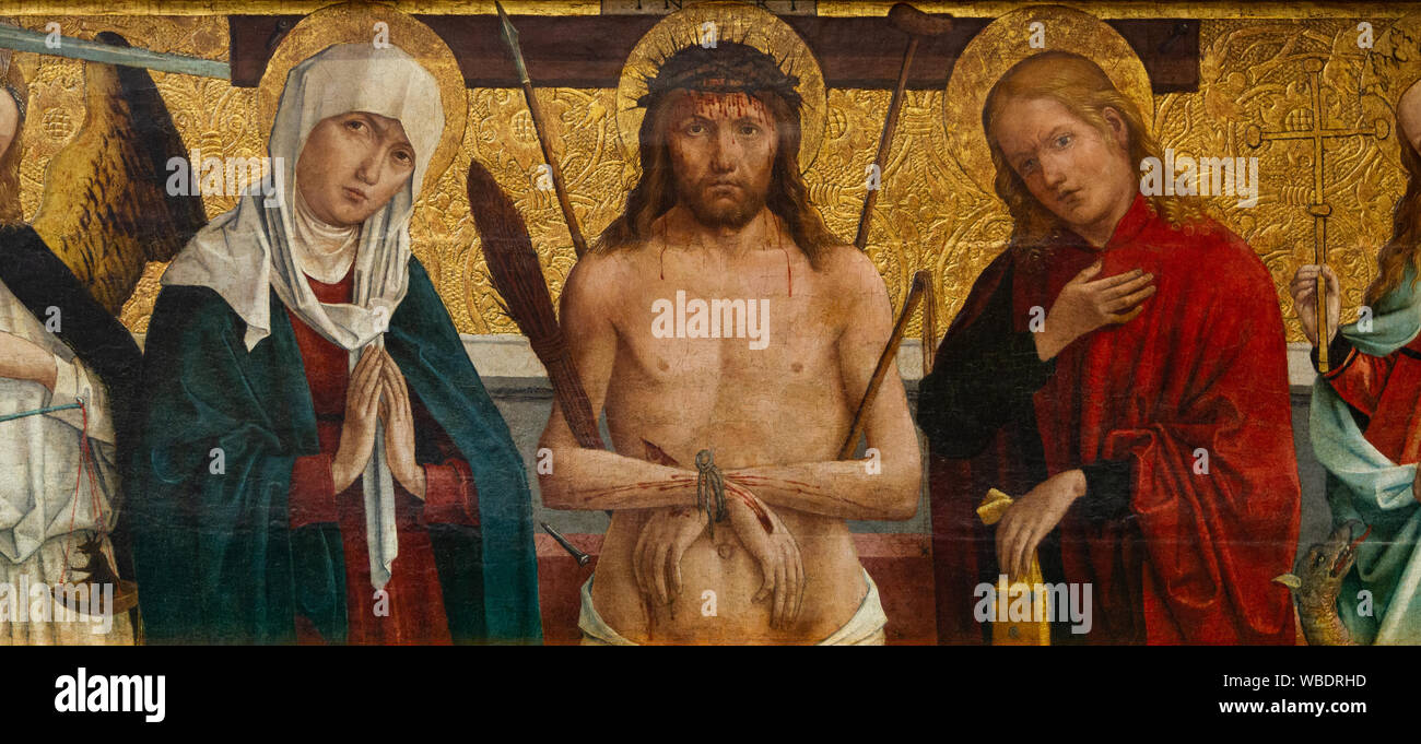 The painting of Vir Dolorum - the Crucifixion of Jesus. Jesus is flanked by the Virgin Mary, Saints John, Margaret and Michael (archangel). Stock Photo