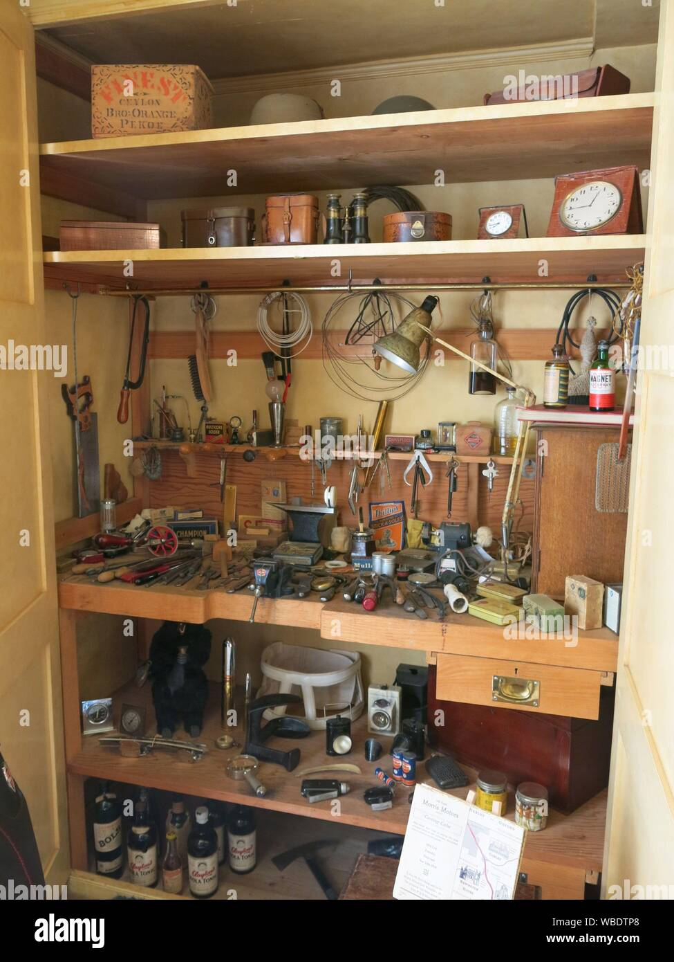The interior of Lord Nuffield's tool cupboard in his bedroom at Nuffield Place, a time capsule from his lifetime of design and engineering. Stock Photo