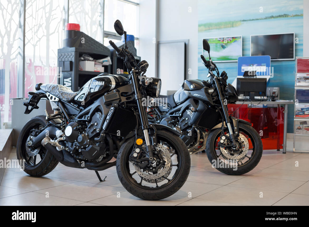 Russia, Izhevsk - August 23, 2019: Yamaha motorcycle shop. New motorbikes and accessories in motorcycle store. Famous world brand. Stock Photo