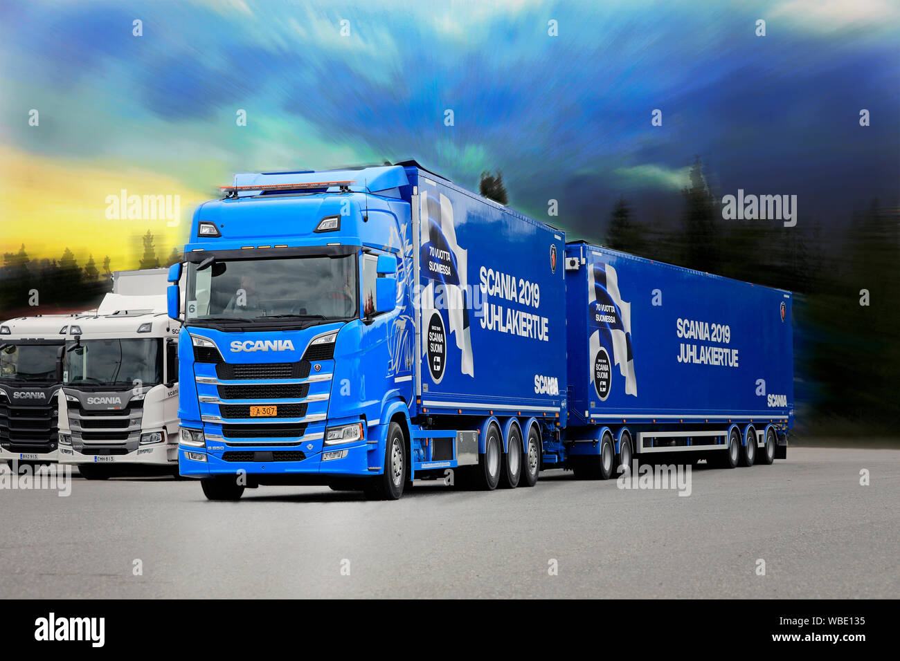 Turku, Finland  August 23, 2019  Blue Scania S650 pulls full
