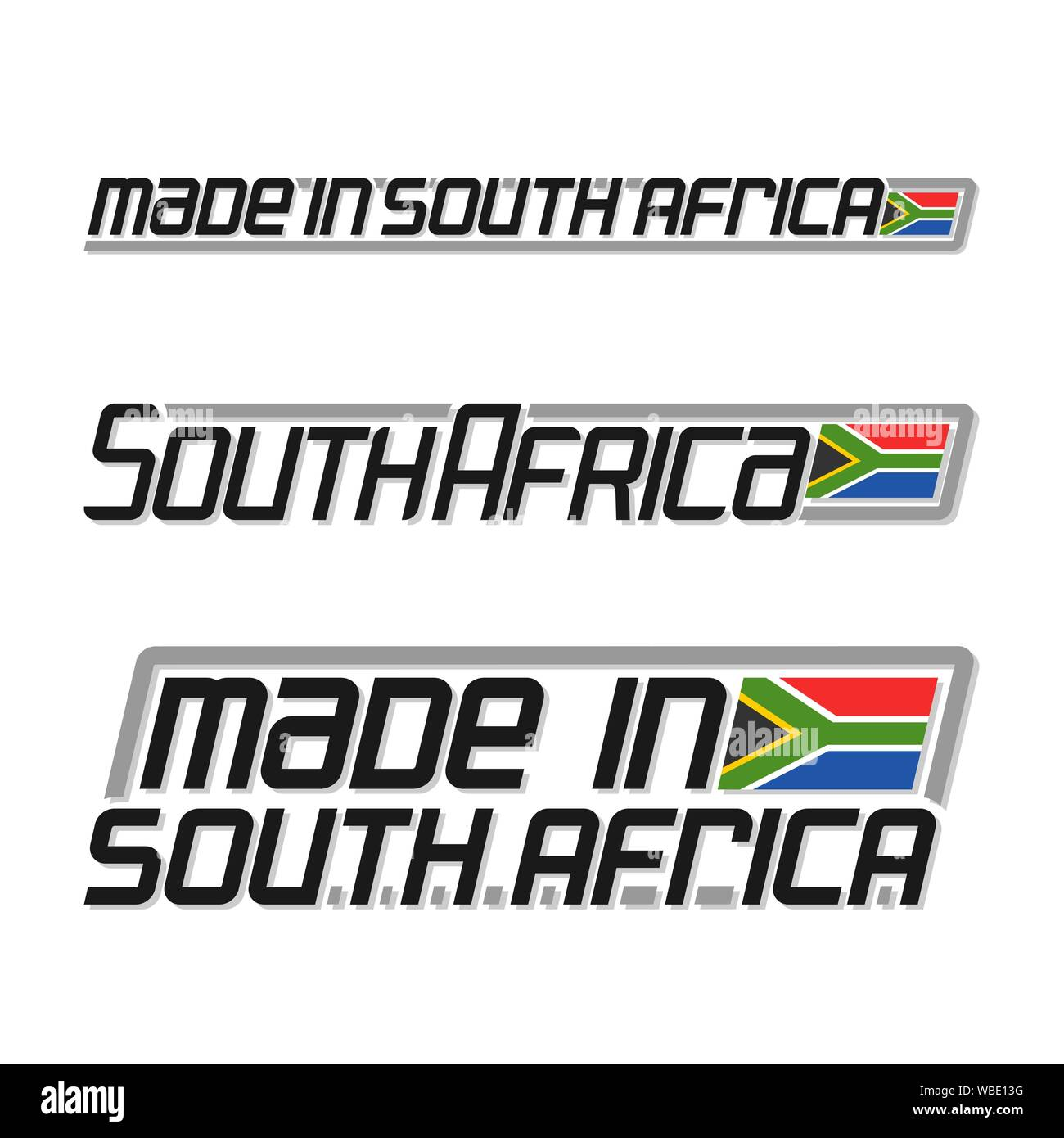 """Vector text """"made in South Africa"""", three isolated national state flag and text south africa on white background. Stock Vector"""