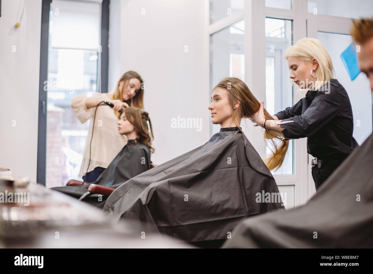 beautiful woman combing wet hair. stylist brushing woman hair in salon. Hairdresser Serving Customer. Professional Young Hairdresser Working With Comb Stock Photo