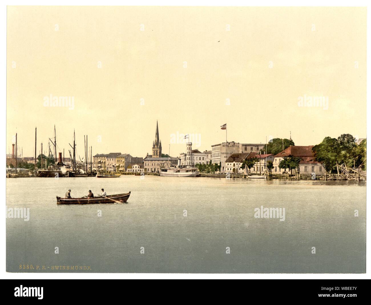 From new lighthouse, Swinemunde, Pomerania, Germany (i.e., Świnoujście, Poland) Stock Photo