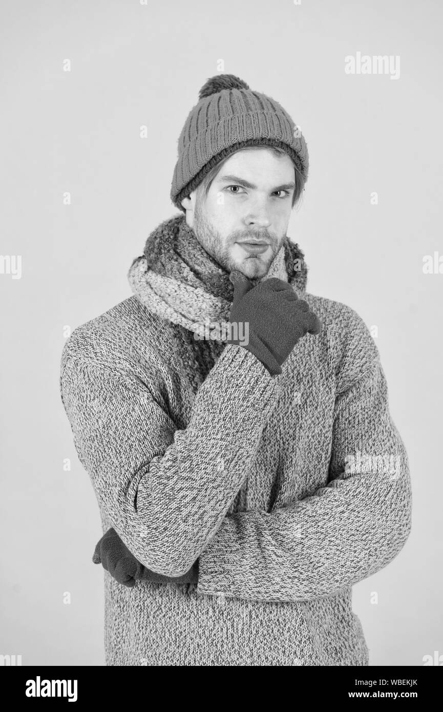 I hate cold. Man wear winter clothes. Man ready to celebrate winter holiday. Keeping you warm this holiday season. Kick cold before it kicks you. Stock Photo