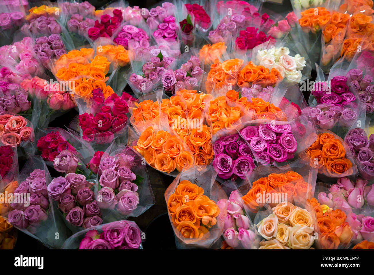 Bunches Of Roses At Florist S Market Stall Orange Red And