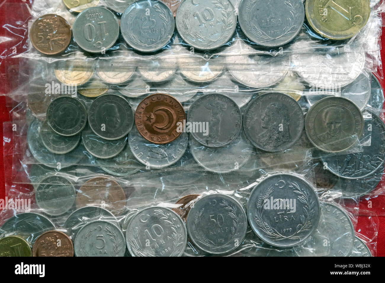 Old Turkish money at the antique shop in Istanbul, Turkey. Stock Photo