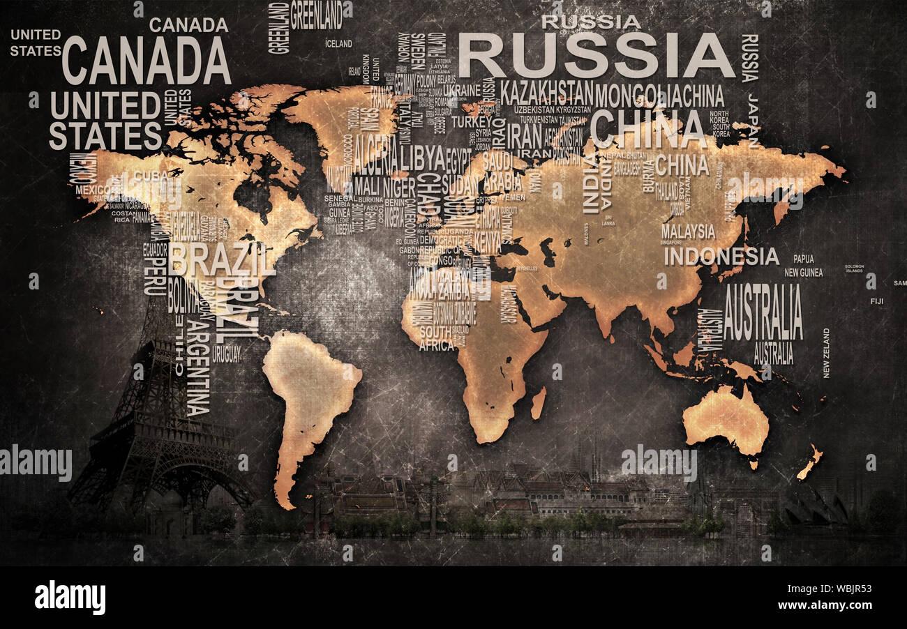 3d world map wallpaper design for wall WBJR53
