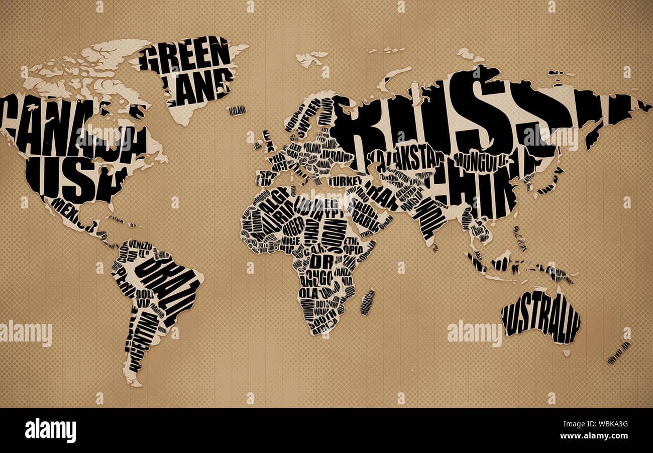 3d world map wallpaper design for wall WBKA3G