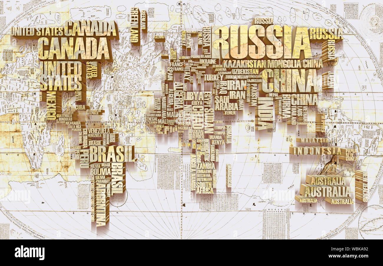 3d world map wallpaper design for wall WBKA92