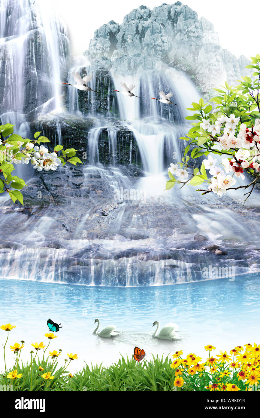 3d Hd Natural Scenery Background Wall Design Stock Photo