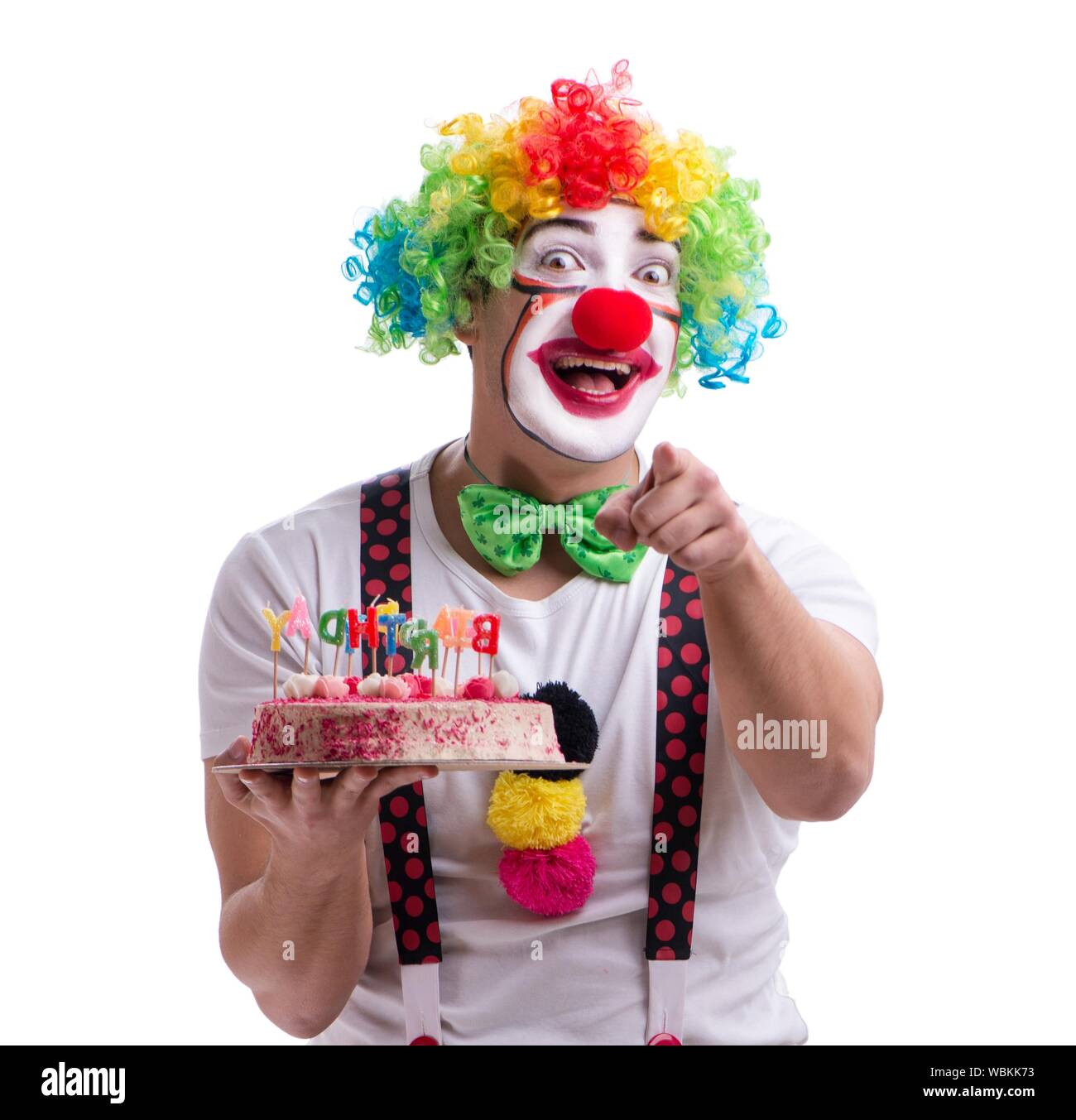 Astonishing The Funny Clown With A Birthday Cake Isolated On White Background Funny Birthday Cards Online Inifodamsfinfo