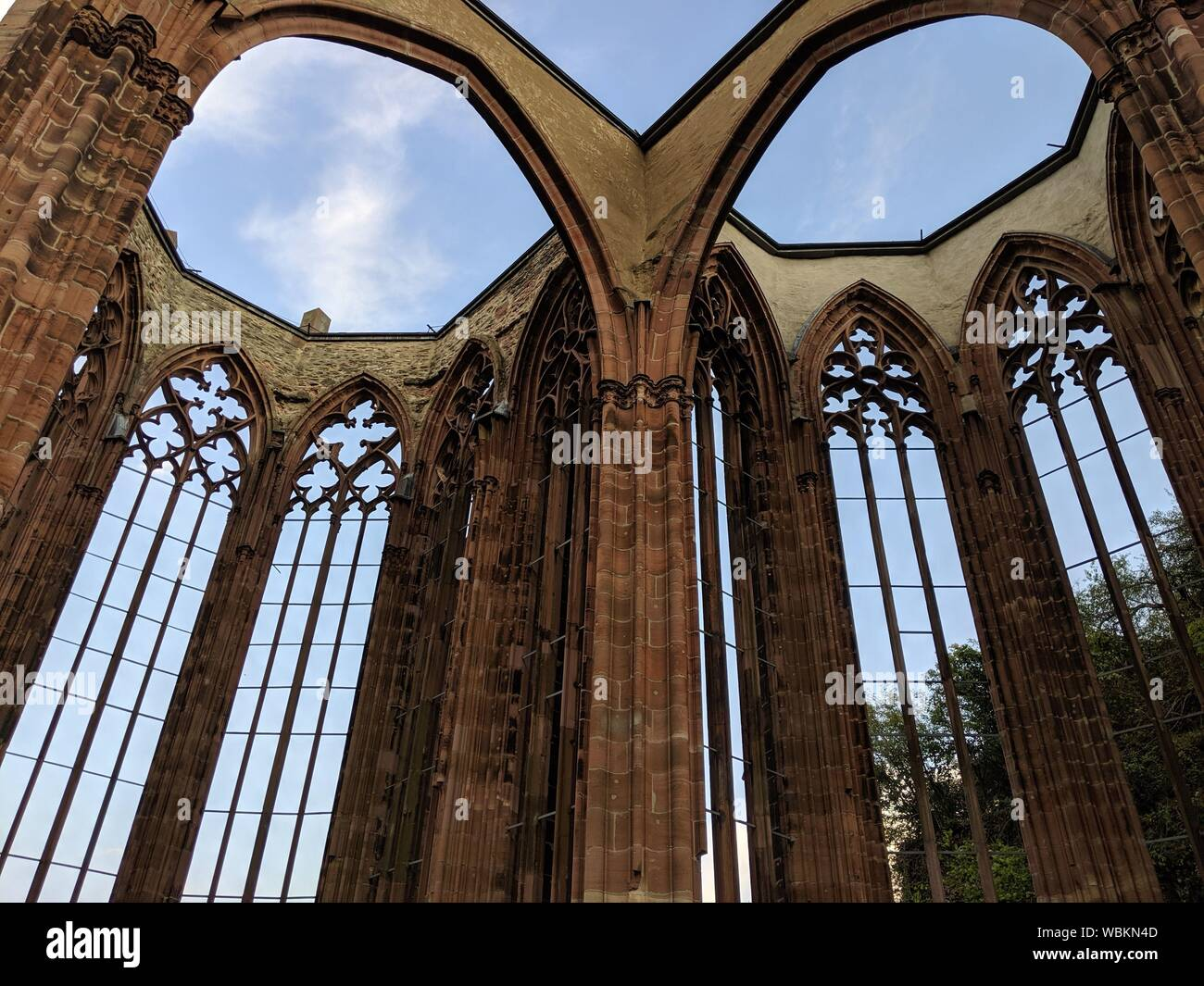 The Wernerkapelle is a Rhine romantic landmark of the city of Bacharach am Rhein. It lies on the way from the city to the castle Stahleck. It is the s Stock Photo