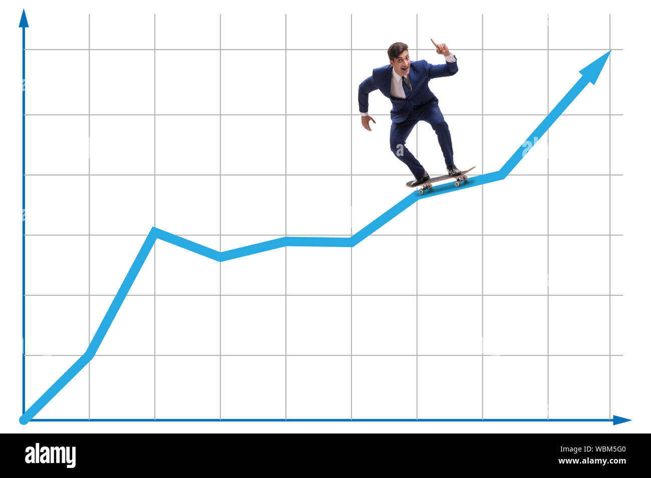 The businessman riding skateboard on financial graph Stock Photo