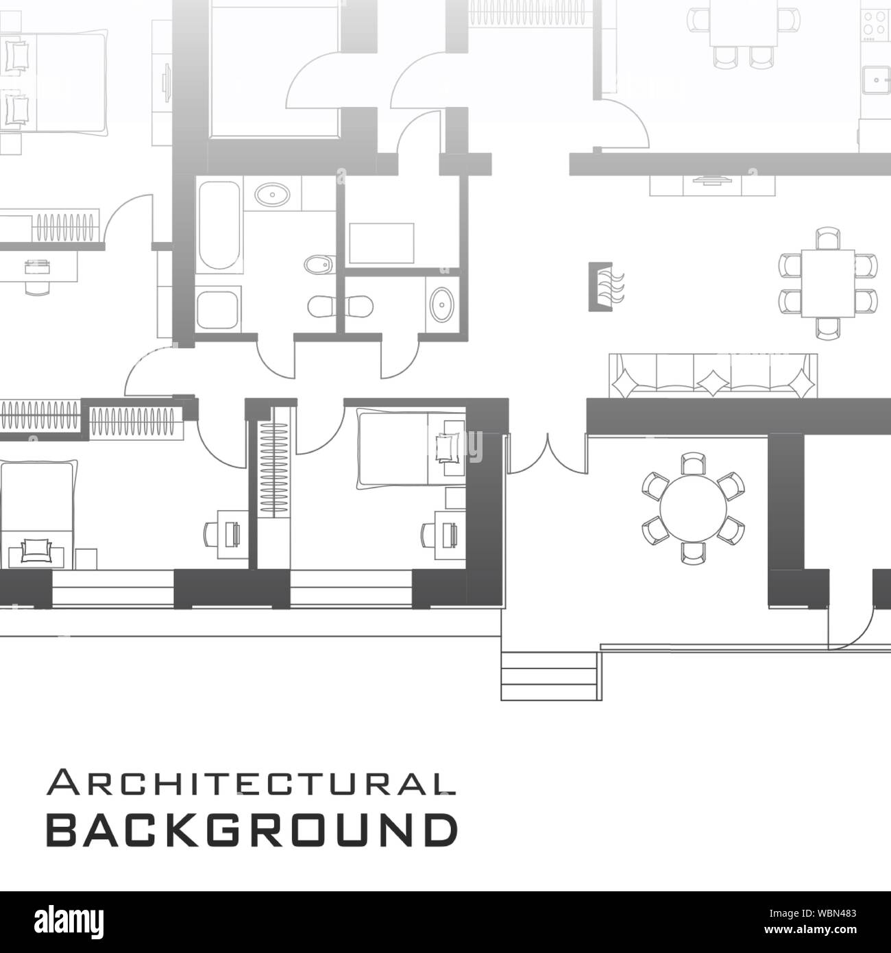 Urban background. Part of architectural project, architectural plan of a residential building. Black and white vector illustration EPS10 Stock Vector