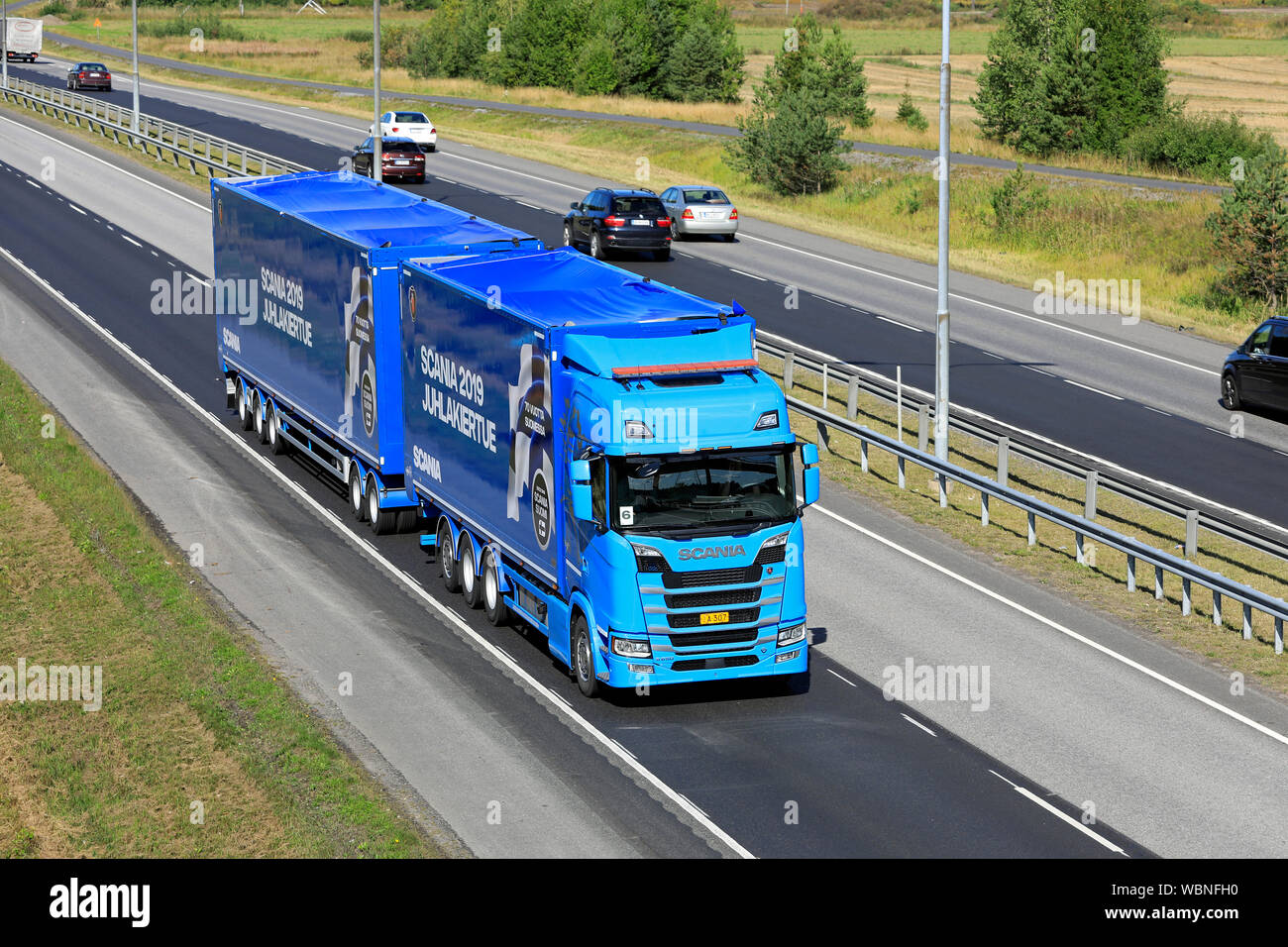 Turku, Finland  August 24, 2019  Blue Next Generation Scania