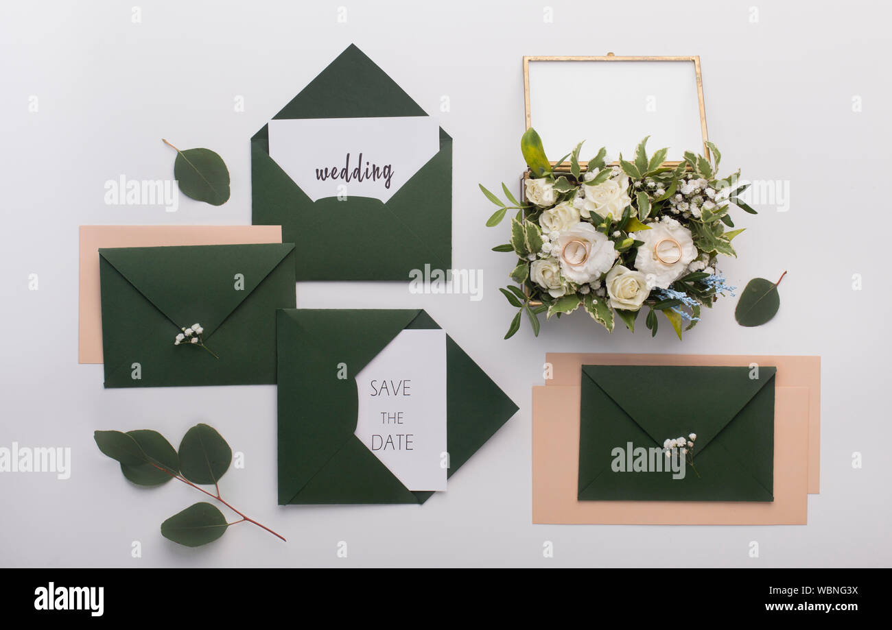 Wedding Invitations For Guests In Stylish Dark Green Envelopes