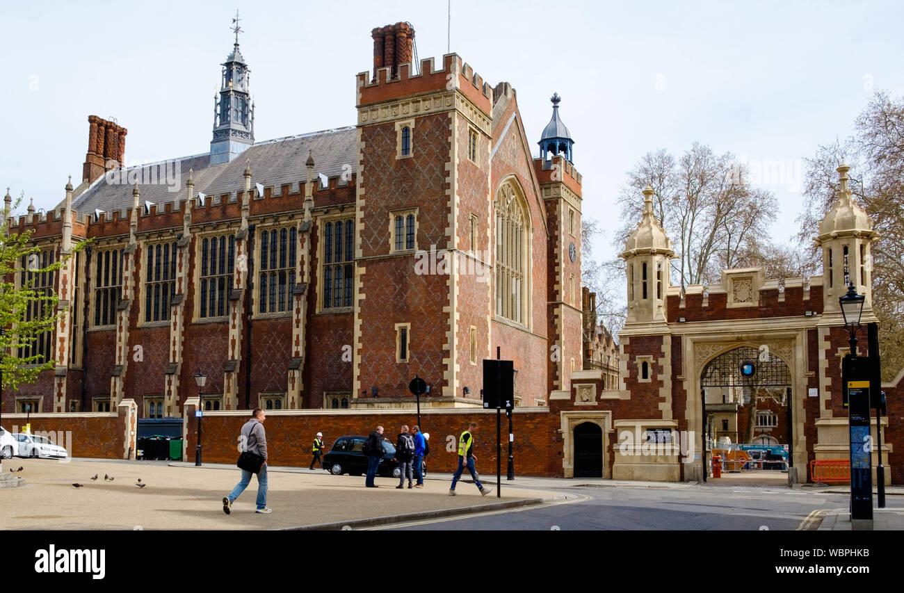 The Great Hall, is a Grade II listed building in Lincoln's Inn society of barristers, situated on a large estate of historic buildings, London WC2. Stock Photo