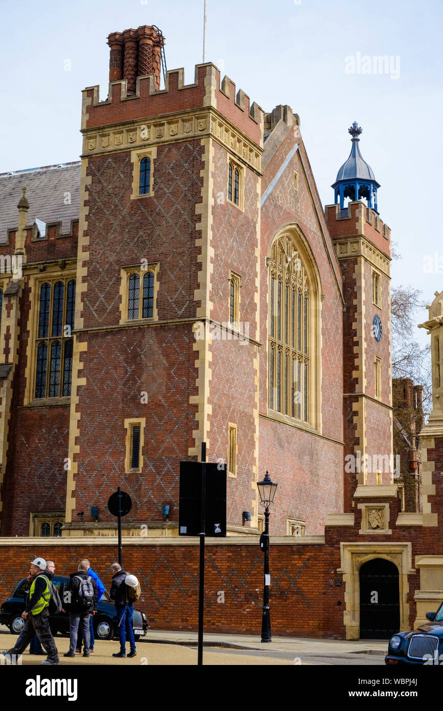 The Great Hall, also known as the New Hall, is a Grade II listed building in Lincoln's Inn, London WC2. Stock Photo