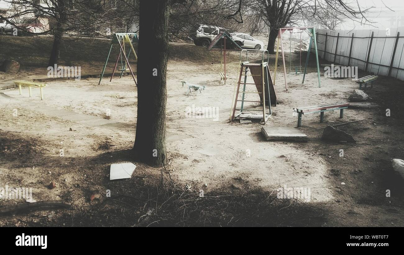 View Of Abandoned Playground Stock Photo Alamy