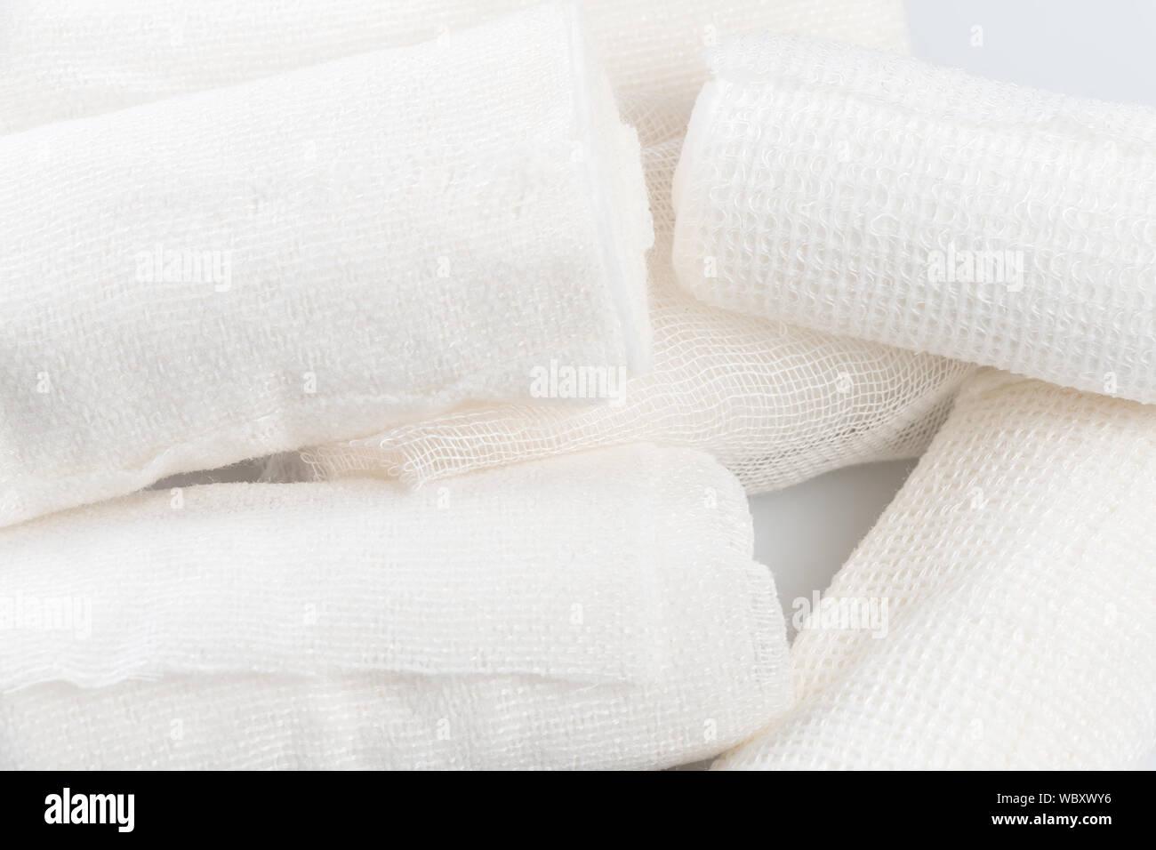 Close-up Of White Bandages Stock Photo