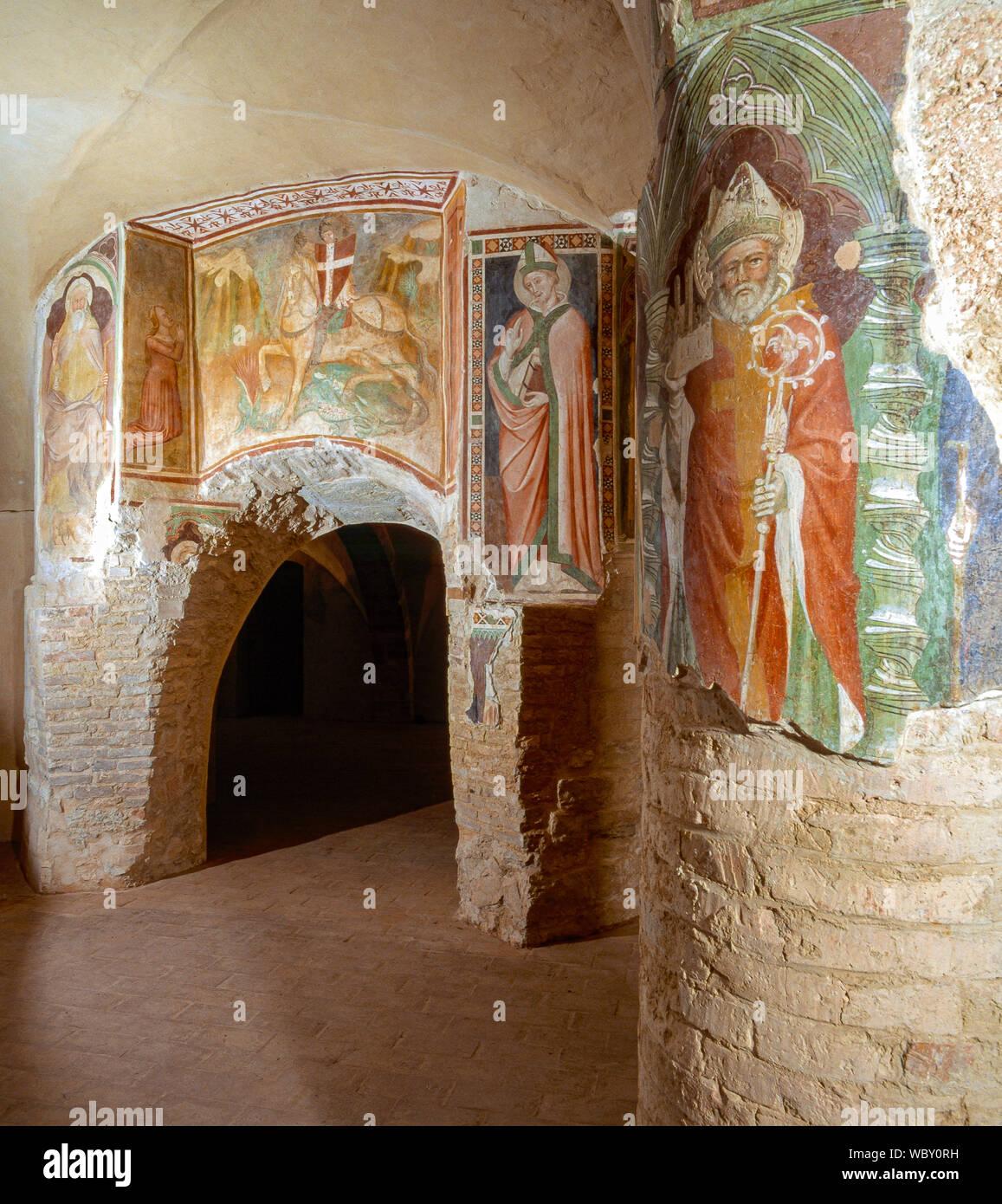Italy Marche San Severino Marche - San Lorenzo in Doliolo - Crypt of VI century - frescoes Stock Photo